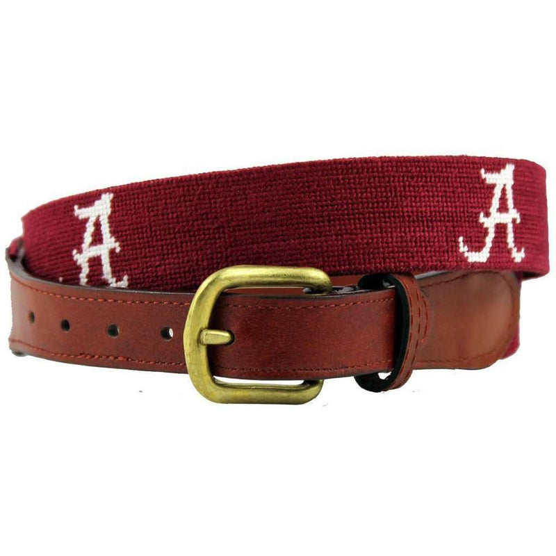 University of Alabama Needlepoint Belt in Crimson and White by Smathers & Branson