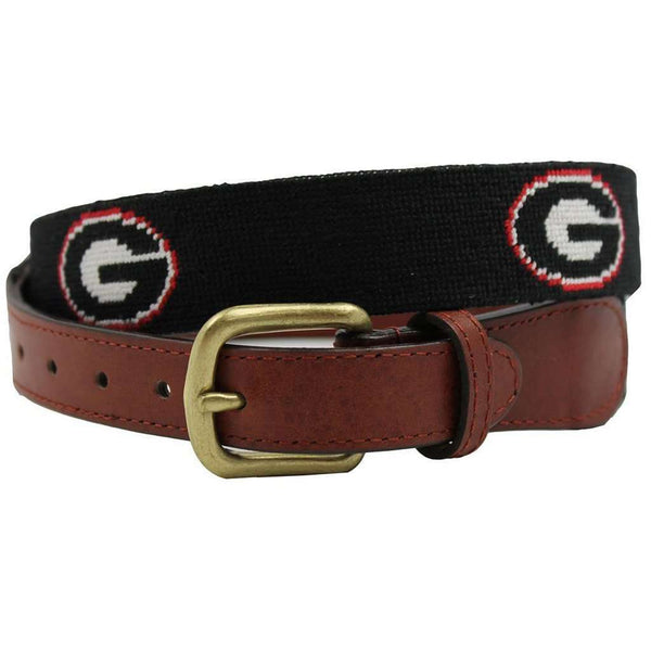 University of Georgia Needlepoint Belt in Black by Smathers & Branson