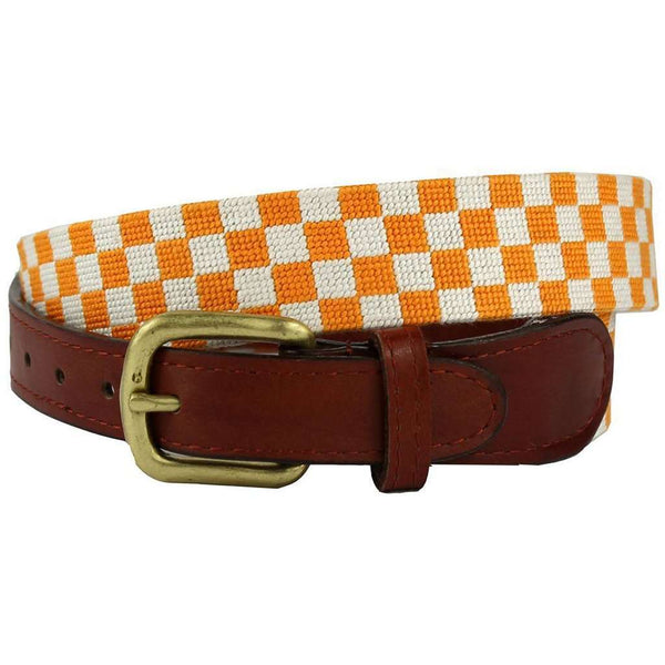 University of Tennessee Checkered Needlepoint Belt in Orange and White by Smathers & Branson
