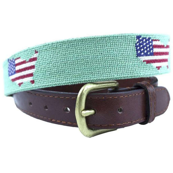 USA Map Needlepoint Belt in Mint by Smathers & Branson