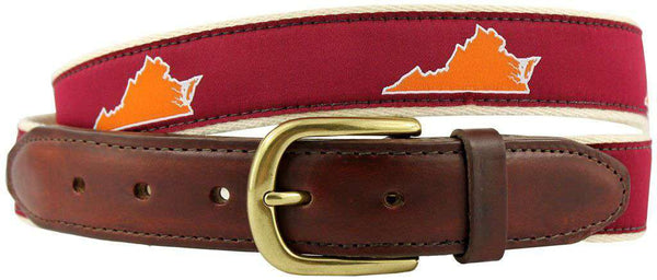 VA Blacksburg Gameday Leather Tab Belt in Maroon Ribbon w/ White Canvas Backing by State Traditions - Country Club Prep