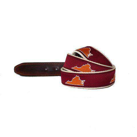 VA Blacksburg Gameday Leather Tab Belt in Maroon Ribbon w/ White Canvas Backing by State Traditions