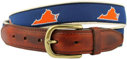 Men's Belts - VA Charlottesville Gameday Leather Tab Belt In Blue Ribbon W/ White Canvas Back By State Traditions