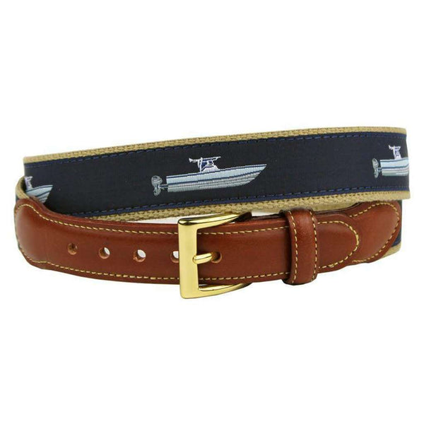 We're Gonna Need a Bigger Boat Leather Tab Belt in Navy by Country Club Prep