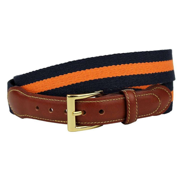 What is a Wahoo Leather Tab Surcingle Stripe Belt in Navy and Orange by Country Club Prep