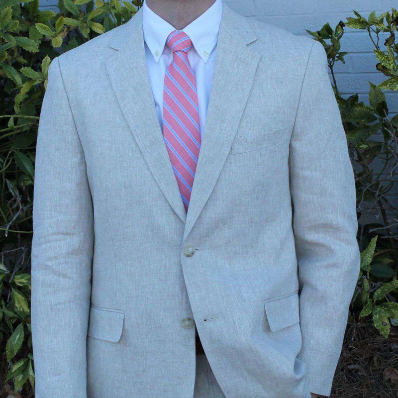 Men's Blazers & Suits - Alderman Pleated Pant Suit In Natural Tan Linen By Country Club Prep