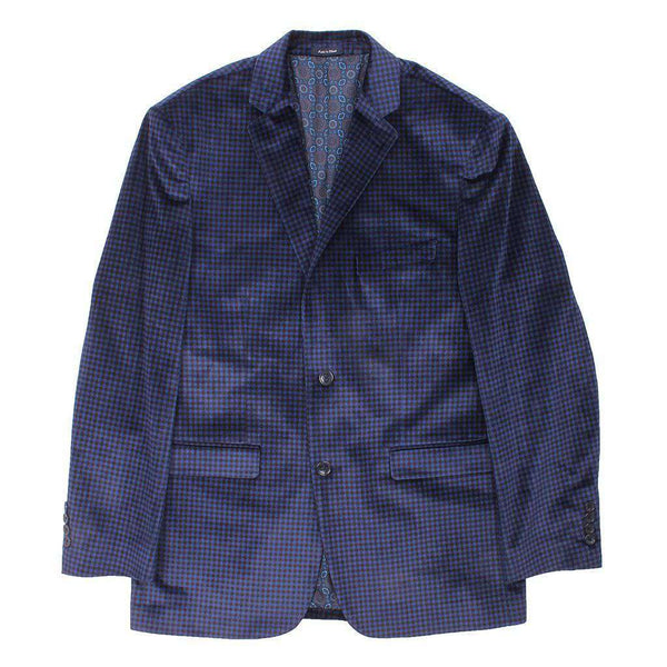 Men's Blazers & Suits - Blue Holiday Check Blazer By Country Club Prep