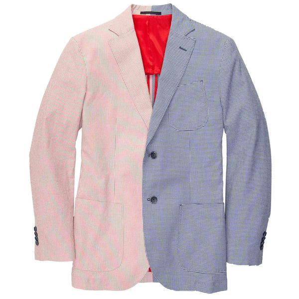 Men's Blazers & Suits - Gentleman's Jacket In Red Stripe And Blue Gingham By Southern Proper - FINAL SALE