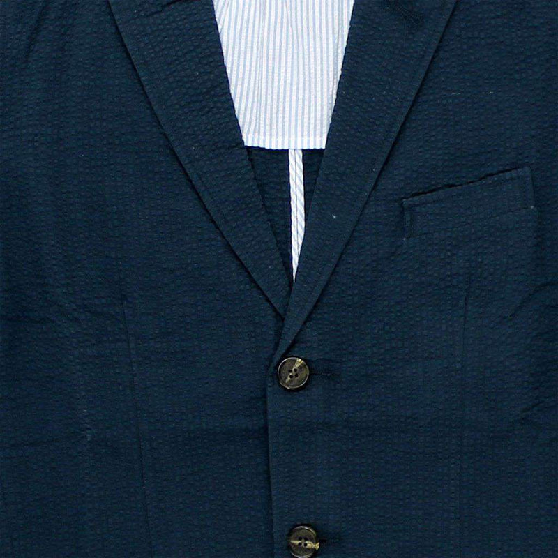Men's Blazers & Suits - Spinnaker Seersucker Blazer In Navy By Castaway Clothing