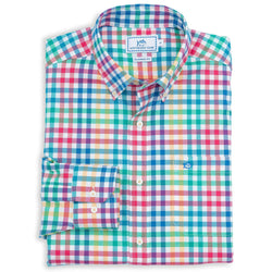 Men's Button Downs - A-List Check Sport Shirt In Fire By Southern Tide