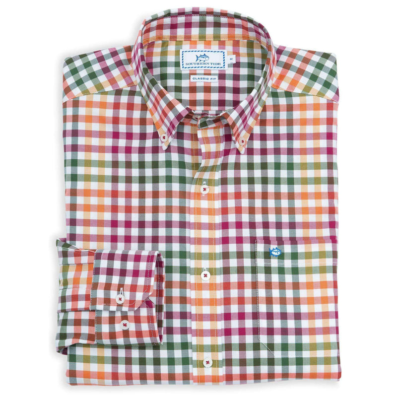 Men's Button Downs - A-List Check Sport Shirt In Pomegranate By Southern Tide
