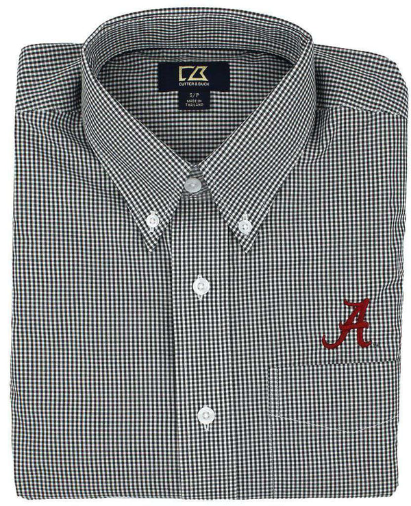 Men's Button Downs - Alabama Black Gingham Button Down By Cutter & Buck
