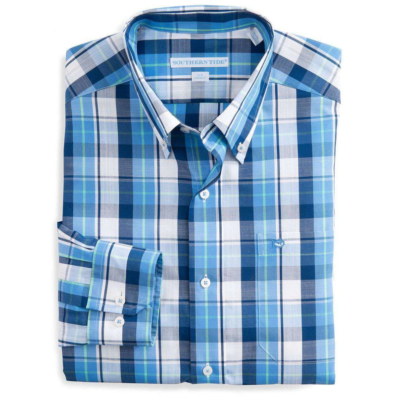 Men's Button Downs - Auto Pilot Plaid Classic Sport Shirt In Charting Blue By Southern Tide