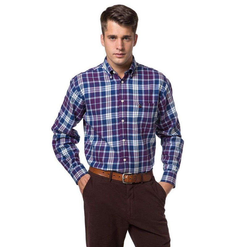 Men's Button Downs - Bennet Southern Shirt In Purple Plaid By Southern Proper - FINAL SALE
