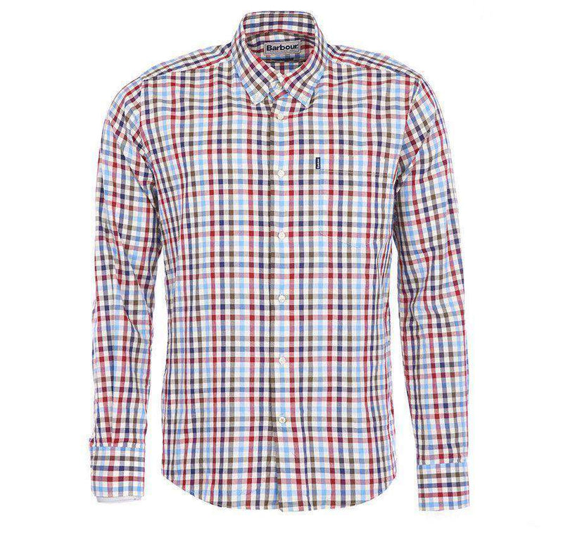 Men's Button Downs - Bibury Tailored Fit Button Down In Red By Barbour