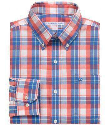 Men's Button Downs - Bon Voyage Plaid Classic Fit Sport Shirt In Coral Beach By Southern Tide