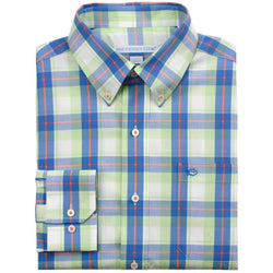 Men's Button Downs - Bon Voyage Plaid Classic Fit Sport Shirt In Lime By Southern Tide