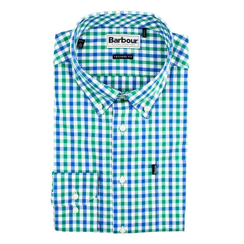 Men's Button Downs - Bruce Tailored Fit Button Down In Navada Green By Barbour