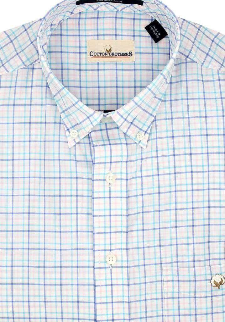 Men's Button Downs - Button Down In Aqua Blue Tattersall By Cotton Brothers