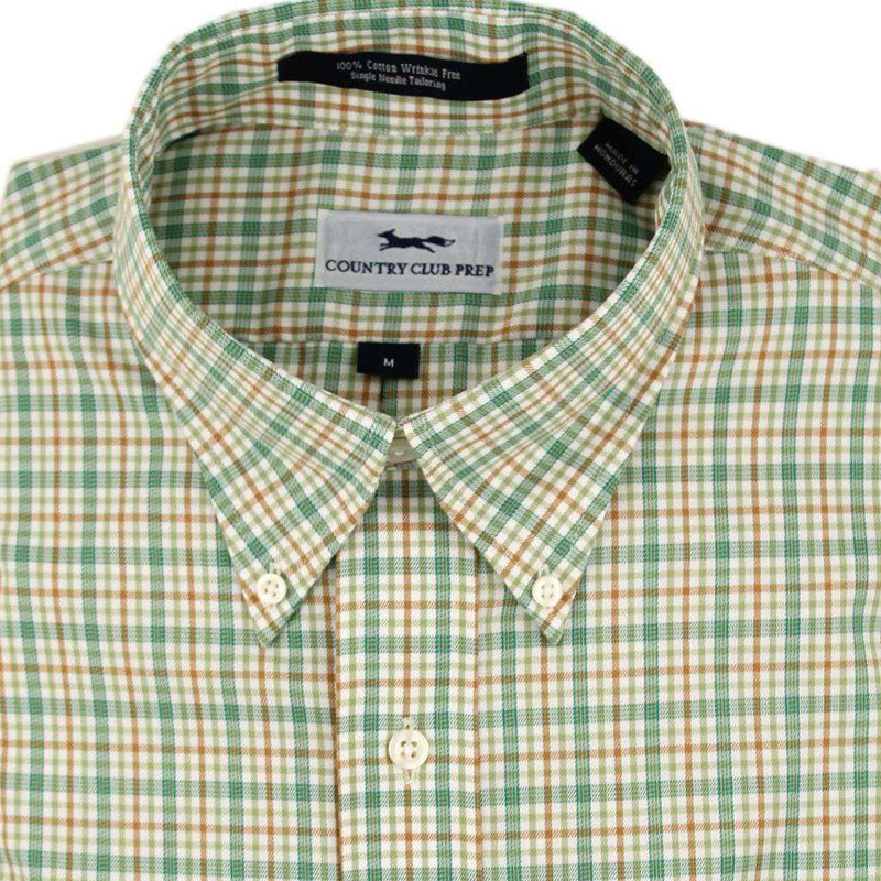Men's Button Downs - Button Down In Avacado Plaid By Country Club Prep - FINAL SALE