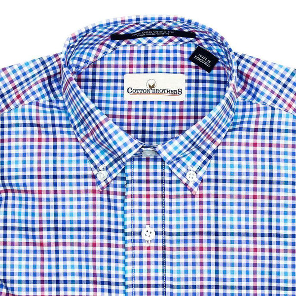 Button Down in Blue and Magenta Mini Check by Cotton Brothers