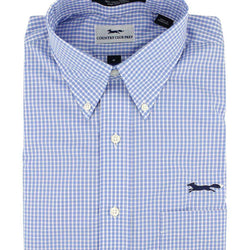 Men's Button Downs - Button Down In Blue Mini Gingham By Country Club Prep - FINAL SALE