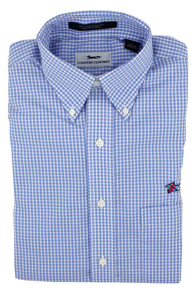 Button Down in Blue Mini Gingham by Country Club Prep - FINAL SALE