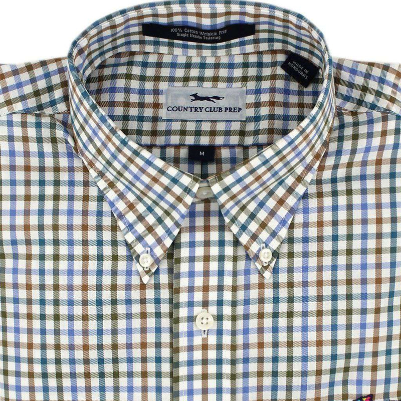 Men's Button Downs - Button Down In Blue Multi Gingham By Country Club Prep