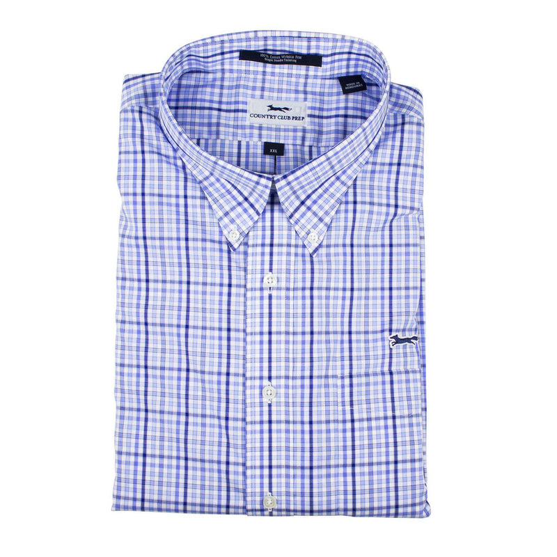 Men's Button Downs - Button Down In Blue & Navy Windowpane Gingham By Country Club Prep