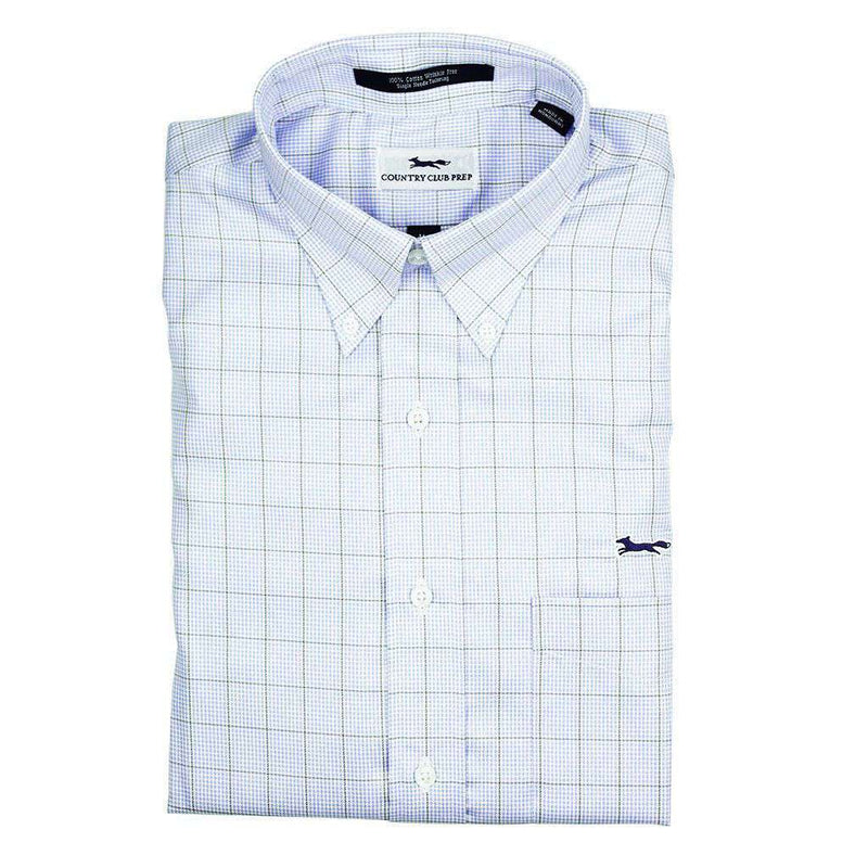 Men's Button Downs - Button Down In Blue With Brown Window Pane Mini Check By Country Club Prep