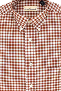 Men's Button Downs - Button Down In Brown Small Gingham By Cotton Brothers