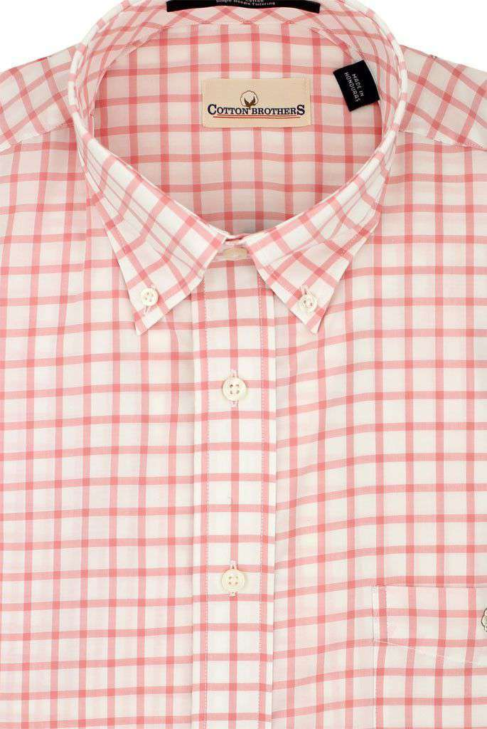 Men's Button Downs - Button Down In Coral Check By Cotton Brothers