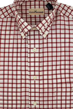 Men's Button Downs - Button Down In Crimson Check By Cotton Brothers