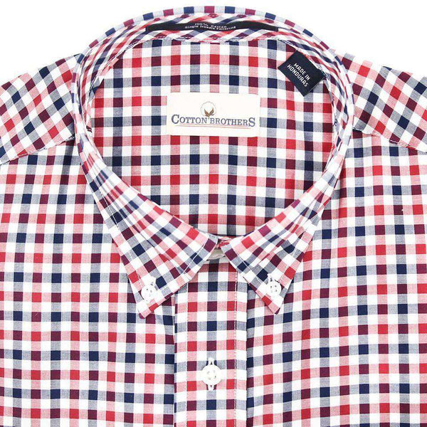 Men's Button Downs - Button Down In Crimson Multi Check By Cotton Brothers