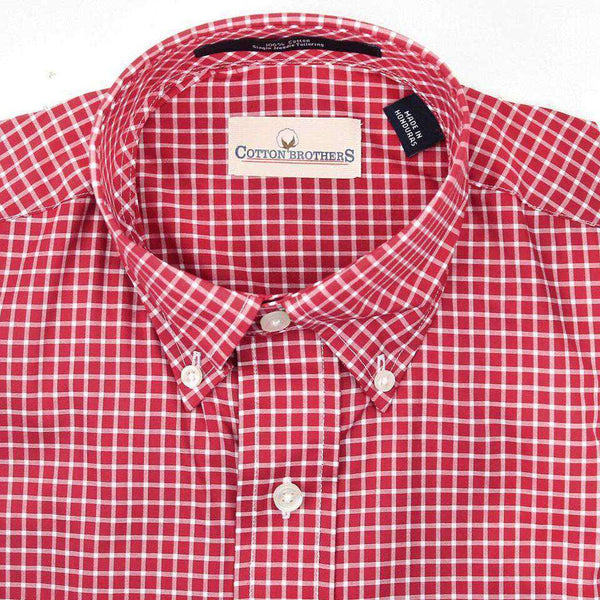 Button Down in Crimson Small Check by Cotton Brothers