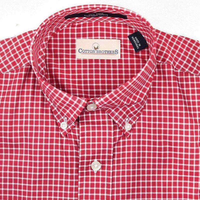 Men's Button Downs - Button Down In Crimson Small Check By Cotton Brothers
