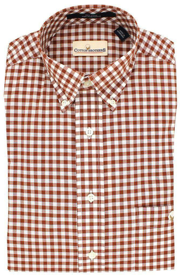 Button Down in Crimson Small Gingham by Cotton Brothers