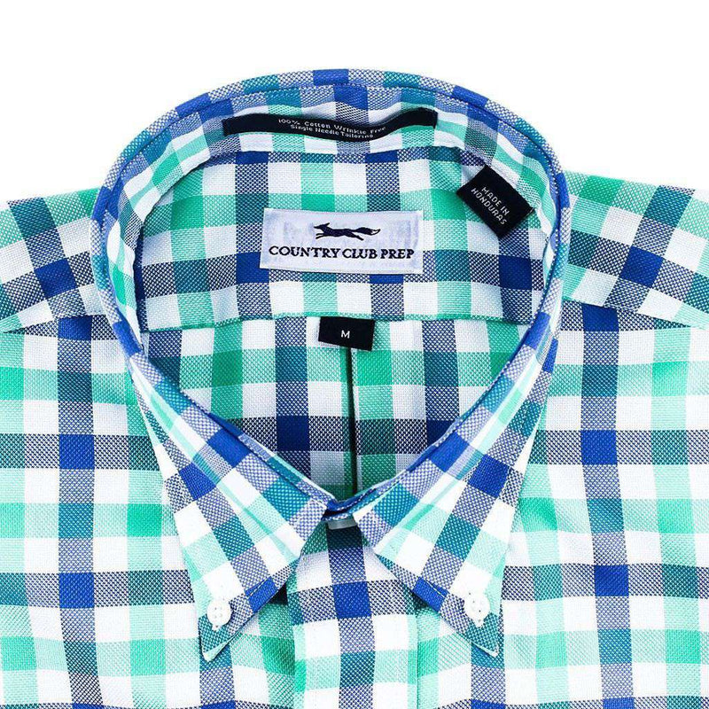 Button Down in Green & Blue Large Check by Country Club Prep