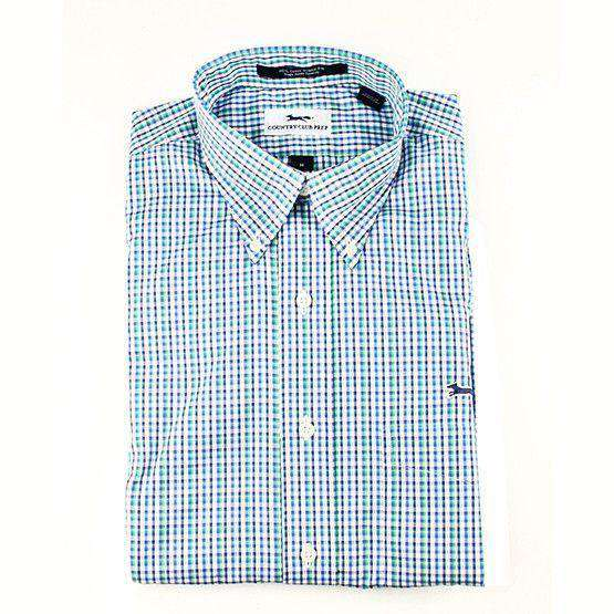 Men's Button Downs - Button Down In Green & Blue Plaid By Country Club Prep - FINAL SALE