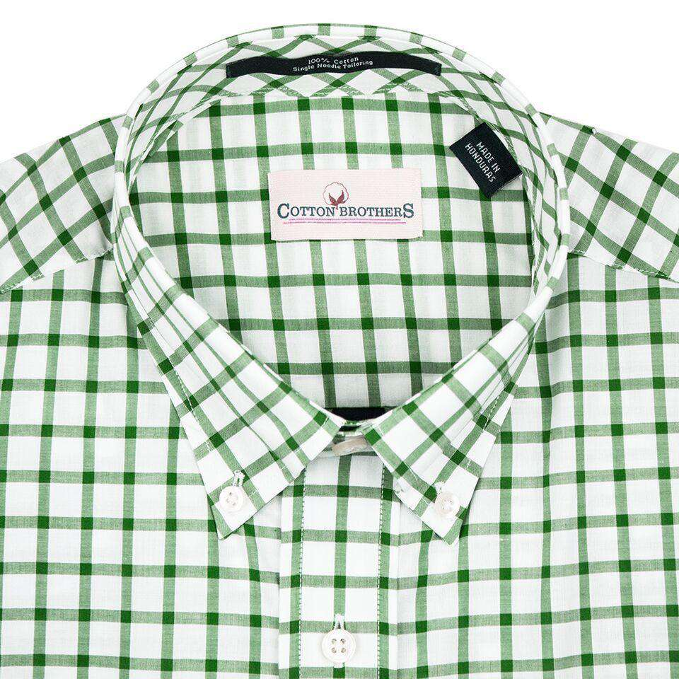 Men's Button Downs - Button Down In Hunter Green Check By Cotton Brothers