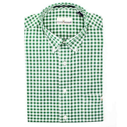 Men's Button Downs - Button Down In Hunter Green Gingham By Cotton Brothers