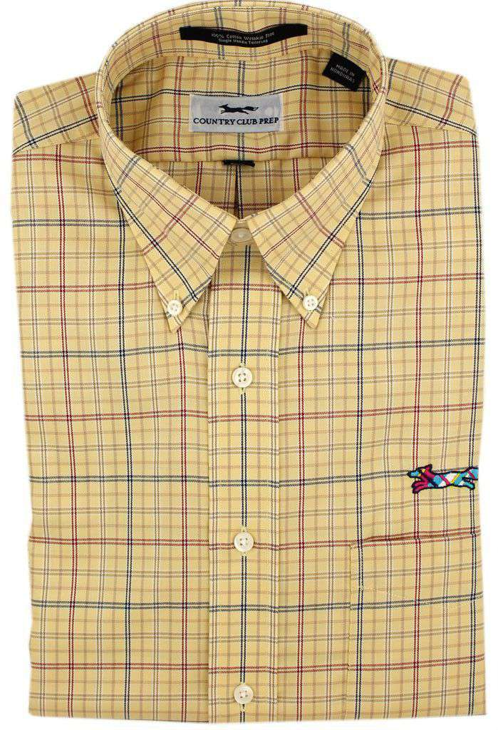 Button Down in Maize with Multi Windowpane Check by Country Club Prep