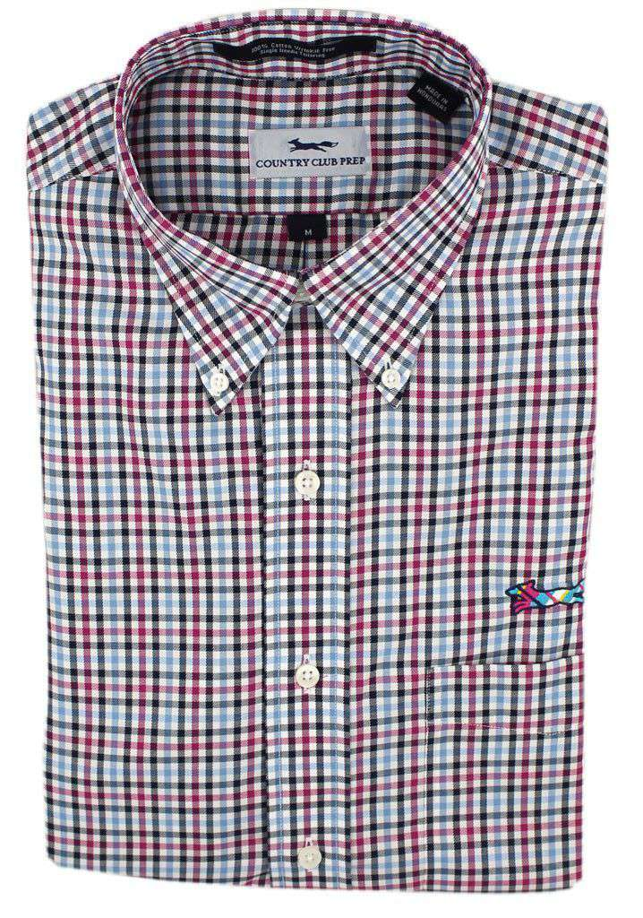 Button Down in Mallard Blue Check by Country Club Prep - FINAL SALE