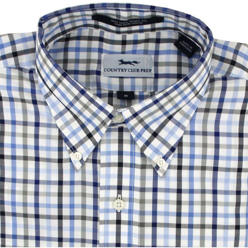 Men's Button Downs - Button Down In Multi Blue Gingham By Country Club Prep - FINAL SALE