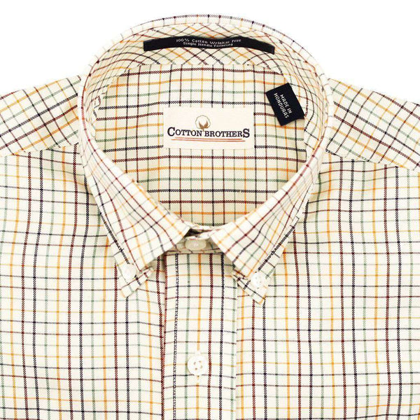 Button Down in Natural Multi-Gingham by Cotton Brothers