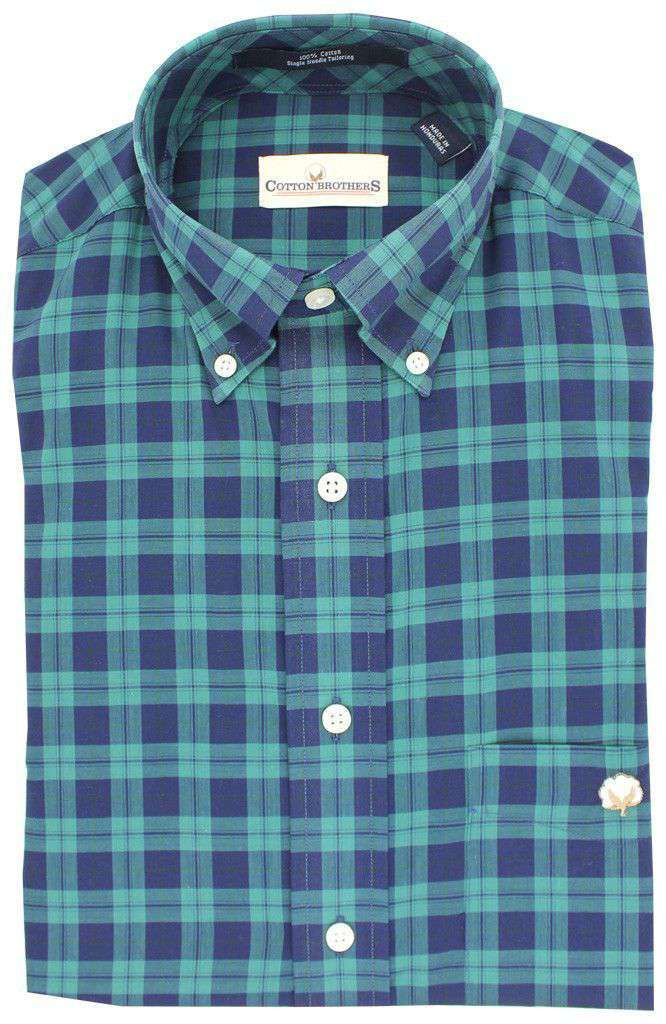Men's Button Downs - Button Down In Navy Green Plaid By Cotton Brothers