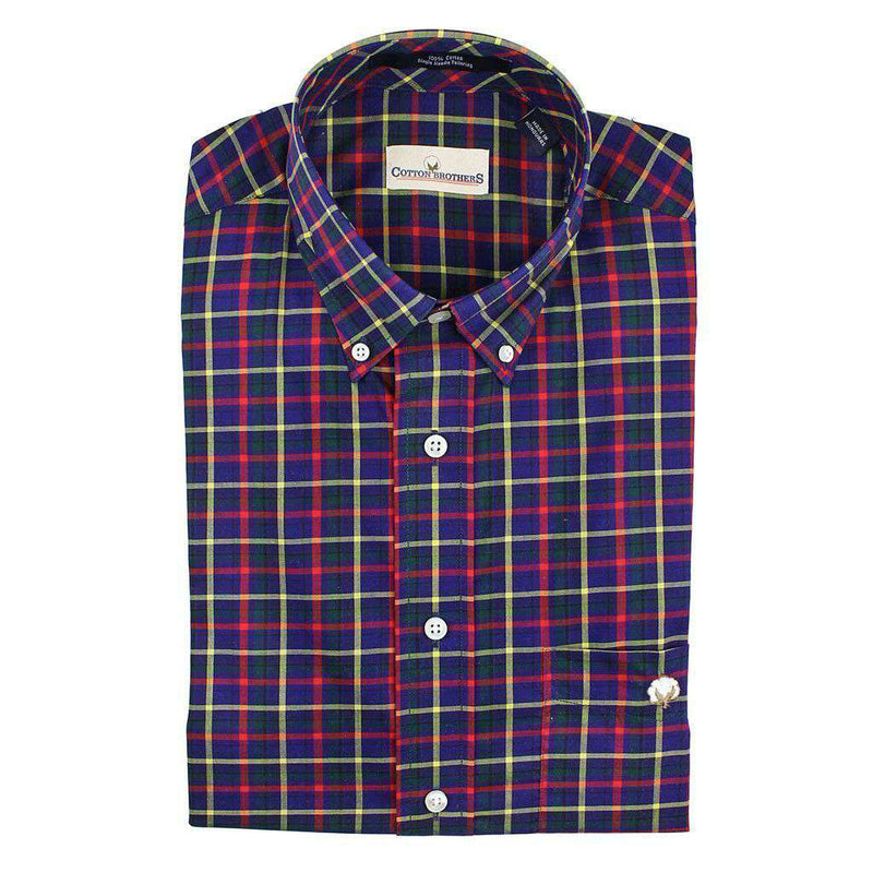 Men's Button Downs - Button Down In Navy Multi Check By Cotton Brothers