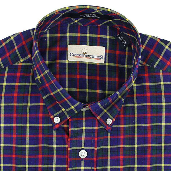 Button Down in Navy Multi Check by Cotton Brothers