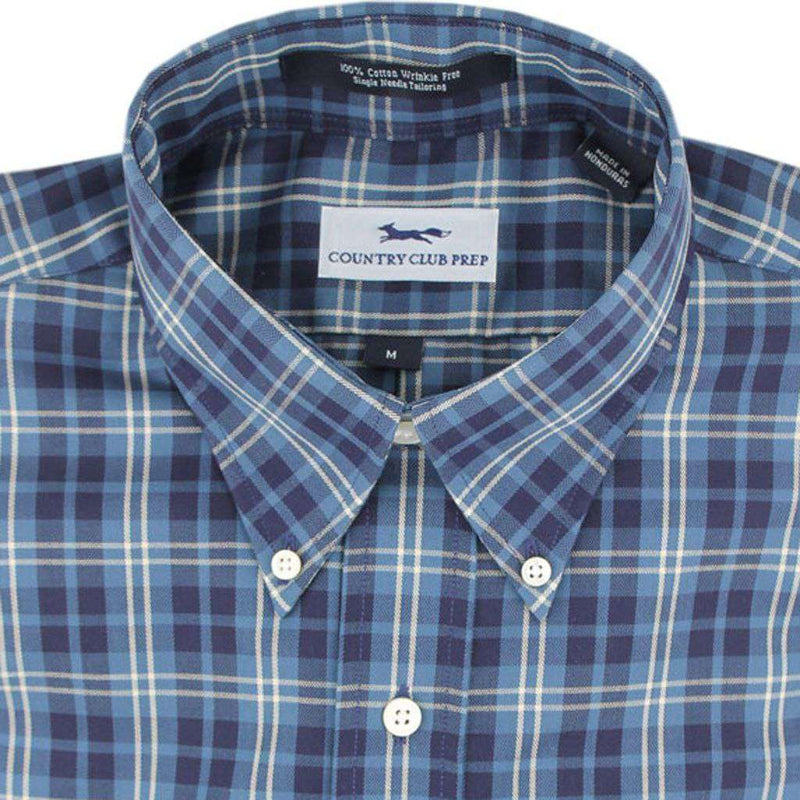 Men's Button Downs - Button Down In Navy Multi Plaid By Country Club Prep - FINAL SALE