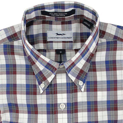Men's Button Downs - Button Down In Navy Plaid By Country Club Prep - FINAL SALE